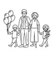 elderly couple with children vector image vector image