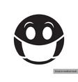 emoji in medical mask icon vector image
