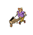 farmer man with a wooden wheelbarrow isolated on vector image