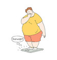 flat overweight obese unhappy man at scale vector image