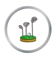 Golf ball and clubs on grass icon in cartoon style vector image vector image