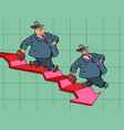 graph indicators down business bankruptcy vector image