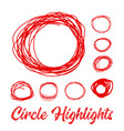 hand drawn highlighter elements circles vector image
