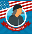 happy columbus day concept background flat style vector image vector image