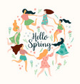 hello spring cute with women vector image vector image