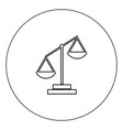 law scale icon black color in circle isolated vector image