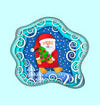 layered cut out paper christmas postcard vector image