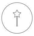 magic wand black icon outline in circle image vector image