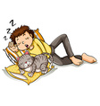 Man taking nap with pet cat vector image vector image