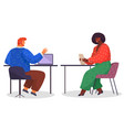 man uses laptop and talks to woman with tablet vector image vector image