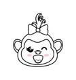monkey kawaii cartoon vector image vector image