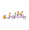 parents riding on tandem bicycle with their three vector image