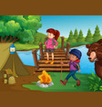 people hiking and camping in wilderness vector image