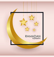 ramadan kareem greeting slogan with gold crescent vector image