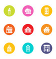 residence icons set flat style vector image vector image