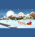 scene with santa on sleigh vector image vector image