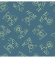 seamless pattern with vintage phone in line vector image