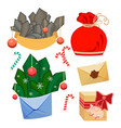 set of christmas decorative elements winter xmas vector image