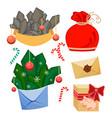set of christmas decorative elements winter xmas vector image vector image