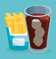 soda with french fries fast food menu vector image vector image