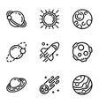 space planet icon set outline style vector image vector image