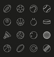 sports balls icon set on black background vector image vector image