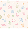 Sweet cakes and tea seamless pattern vector image vector image