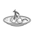 sweet cherry on saucer sketch vector image