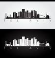 tel aviv skyline and landmarks silhouette vector image vector image