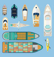 top view on isolated boats or ships vector image vector image