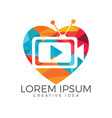 tv media heart shape logo design vector image vector image