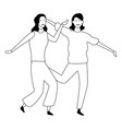 two women friends cartoon in black and white vector image vector image