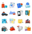 Vacation travel icons set flat vector image vector image