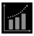 white halftone positive trend icon vector image vector image