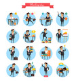 working day busy template collection on white vector image vector image