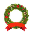 wreath with ribbon vector image vector image