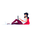 young woman at home with laptop flat style vector image
