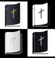 holy bible book pictogram set icons vector image