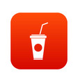 paper cup with straw icon digital red vector image