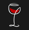 abstract red wine glass symbol icon on black vector image