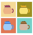 assembly flat icons coffee dishware kettle vector image vector image