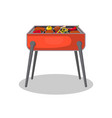 barbecue grill with meat and vegetables icon vector image vector image
