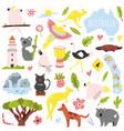 big flat set australian animals and symbols vector image