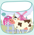 Border design with cow and barn vector image vector image