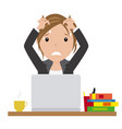 business woman in her office with worried face vector image vector image