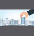 businessman select to holding modern building vector image vector image