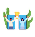 businesswoman team women hold trophy online vector image vector image