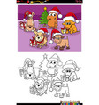 cartoon dogs group on christmas time coloring vector image vector image