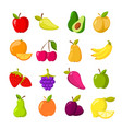 cartoon fruits clipart collection isolated vector image