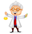 Cartoon scientist holding chemical flask vector image